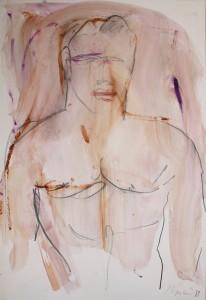 """""""Ritratto Virile""""    l.33 x h.48 cm     1989    Gouache su carta"""