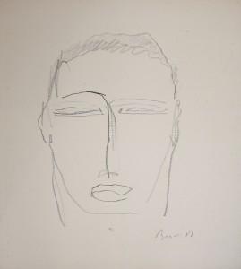 """""""Ritratto Virile""""    l.40 x h.48 cm    1989    Grafite su carta"""